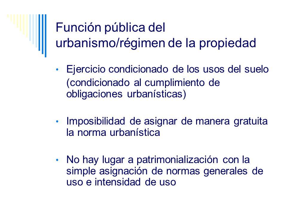 Función pública del urbanismo/régimen de la propiedad Ejercicio condicionado de los usos del suelo (condicionado al cumplimiento de obligaciones urban