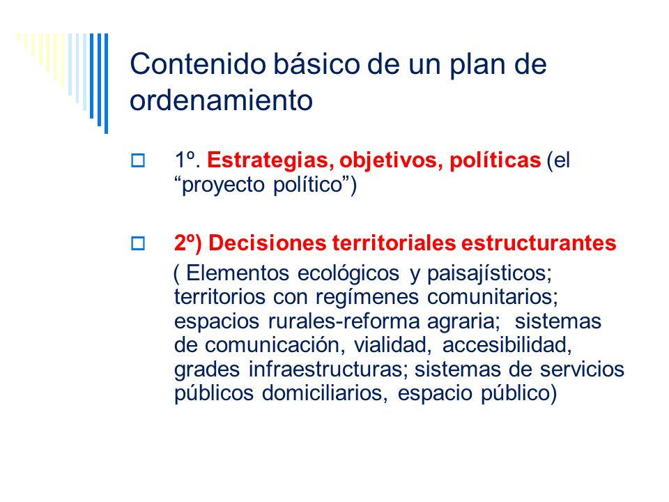 Contenido básico de un plan de ordenamiento 1º. Estrategias, objetivos, políticas (el proyecto político) 2º) Decisiones territoriales estructurantes (