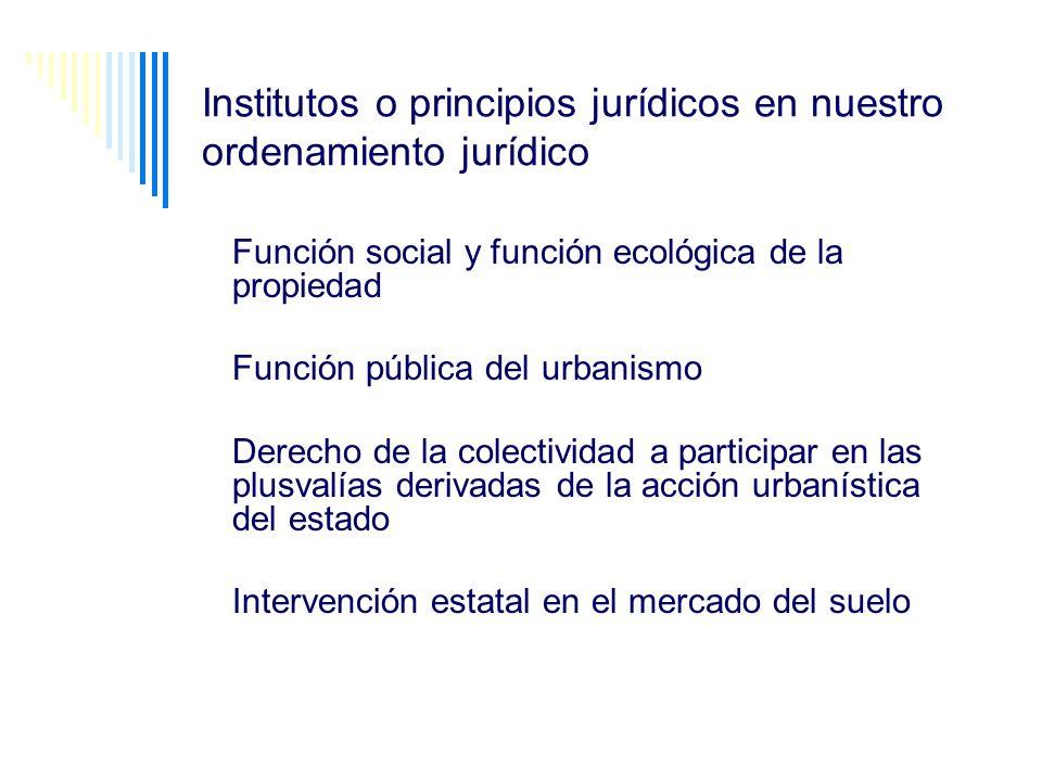 Institutos o principios jurídicos en nuestro ordenamiento jurídico Función social y función ecológica de la propiedad Función pública del urbanismo De