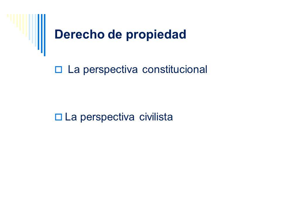 Derecho de propiedad La perspectiva constitucional La perspectiva civilista
