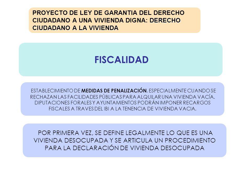 FISCALIDAD DERECHO CIUDADANO A LA VIVIENDA PROYECTO DE LEY DE GARANTIA DEL DERECHO CIUDADANO A UNA VIVIENDA DIGNA: DERECHO CIUDADANO A LA VIVIENDA EST