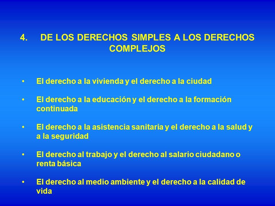 4.DE LOS DERECHOS SIMPLES A LOS DERECHOS COMPLEJOS El derecho a la vivienda y el derecho a la ciudad El derecho a la educación y el derecho a la forma