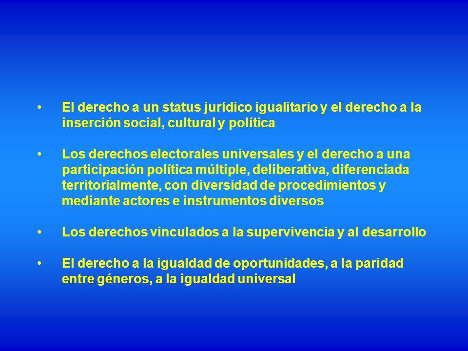 El derecho a un status jurídico igualitario y el derecho a la inserción social, cultural y política Los derechos electorales universales y el derecho