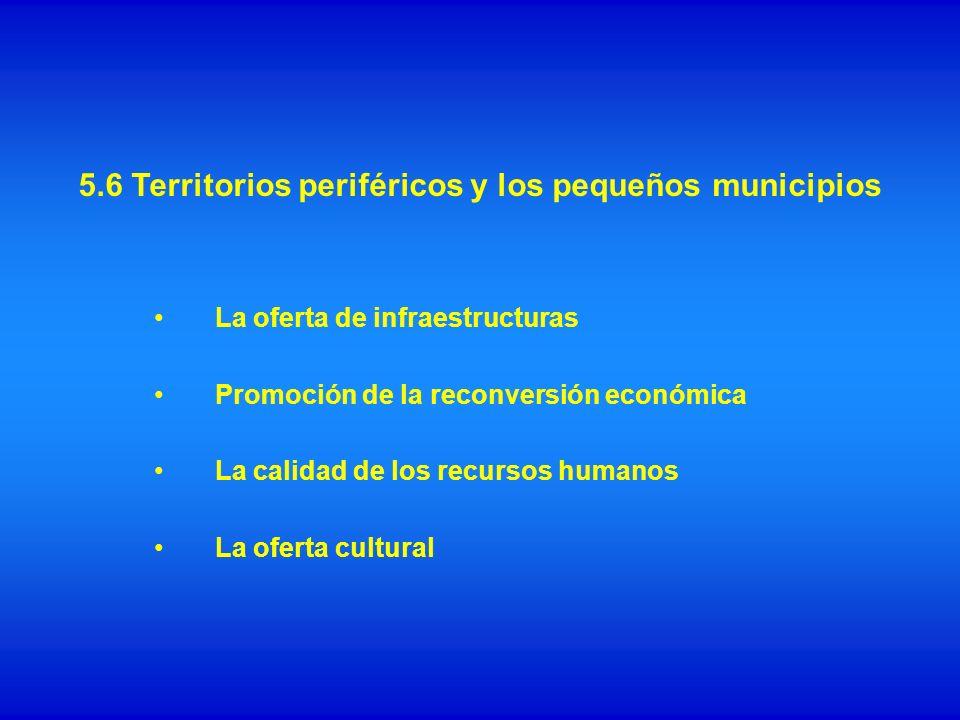 La oferta de infraestructuras Promoción de la reconversión económica La calidad de los recursos humanos La oferta cultural 5.6 Territorios periféricos