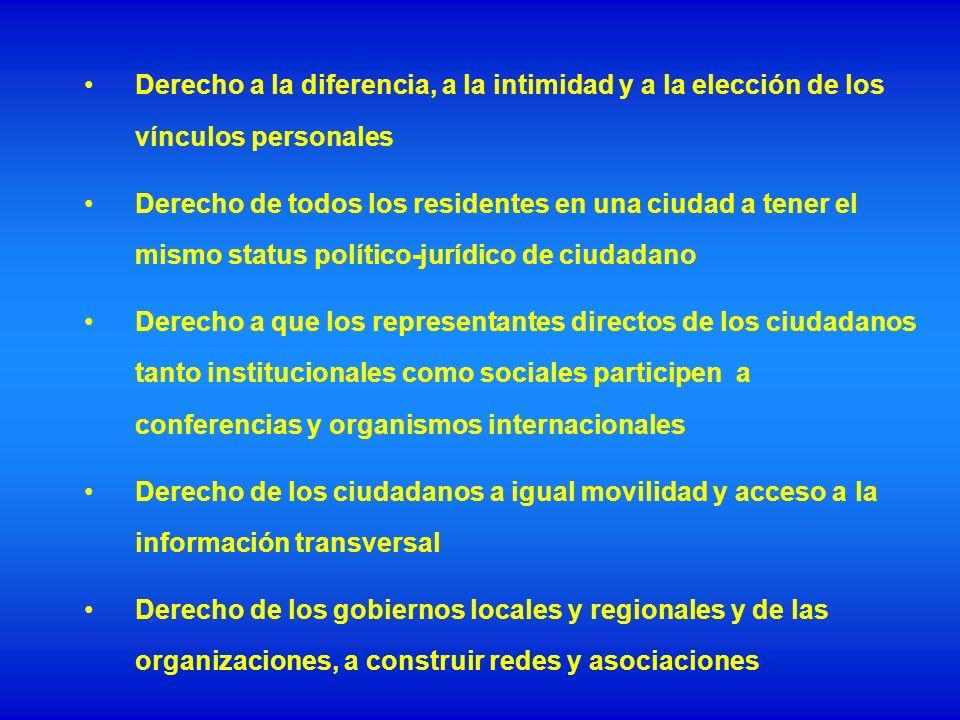 Derecho a la diferencia, a la intimidad y a la elección de los vínculos personales Derecho de todos los residentes en una ciudad a tener el mismo stat