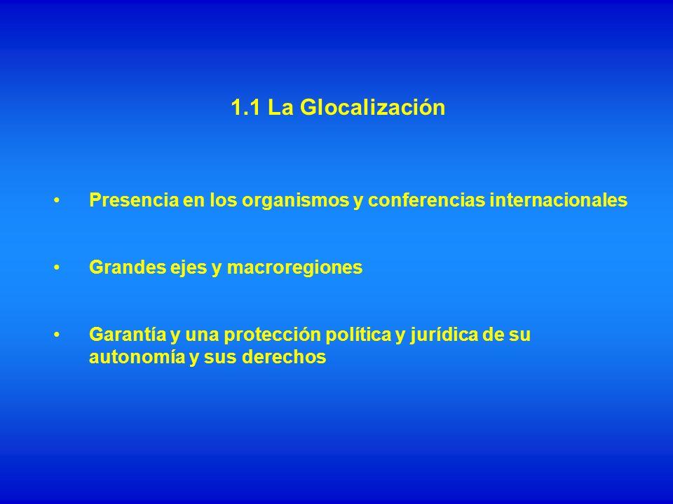1.1 La Glocalización Presencia en los organismos y conferencias internacionales Grandes ejes y macroregiones Garantía y una protección política y jurí