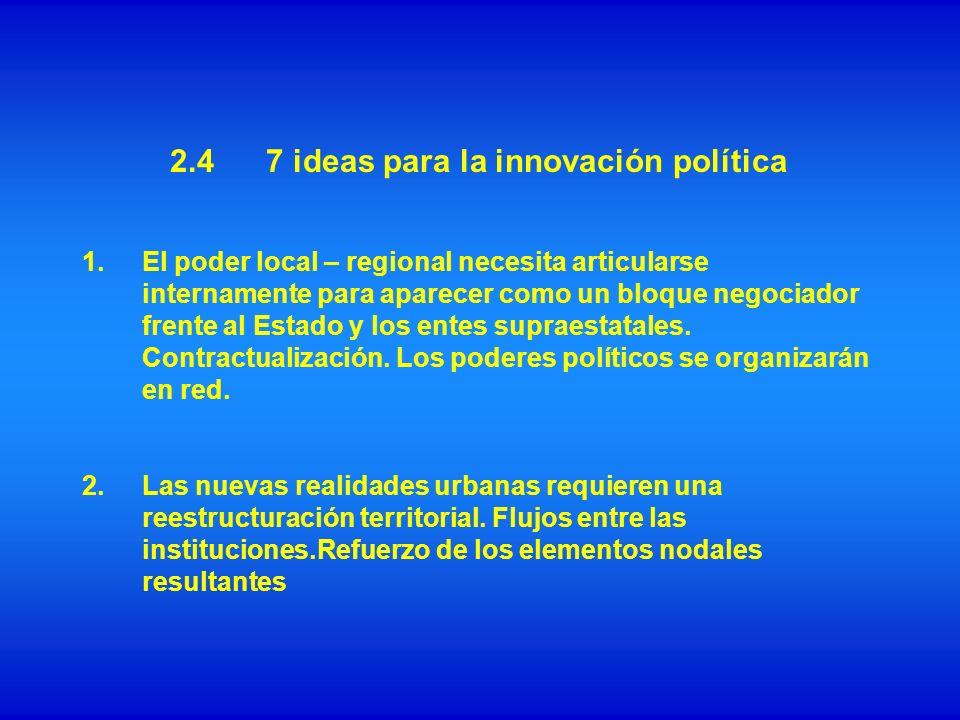1.El poder local – regional necesita articularse internamente para aparecer como un bloque negociador frente al Estado y los entes supraestatales. Con