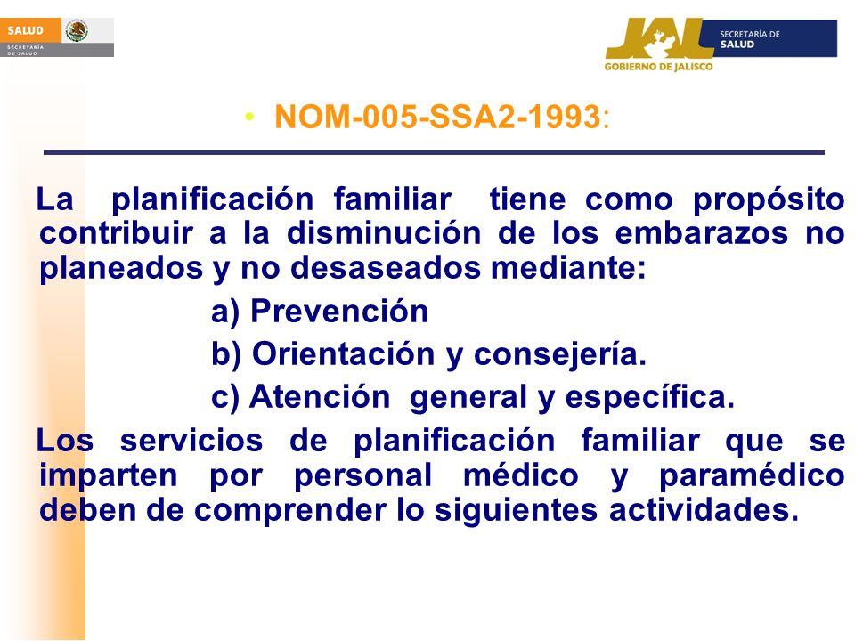 NOM-005-SSA2-1993: La planificación familiar tiene como propósito contribuir a la disminución de los embarazos no planeados y no desaseados mediante:
