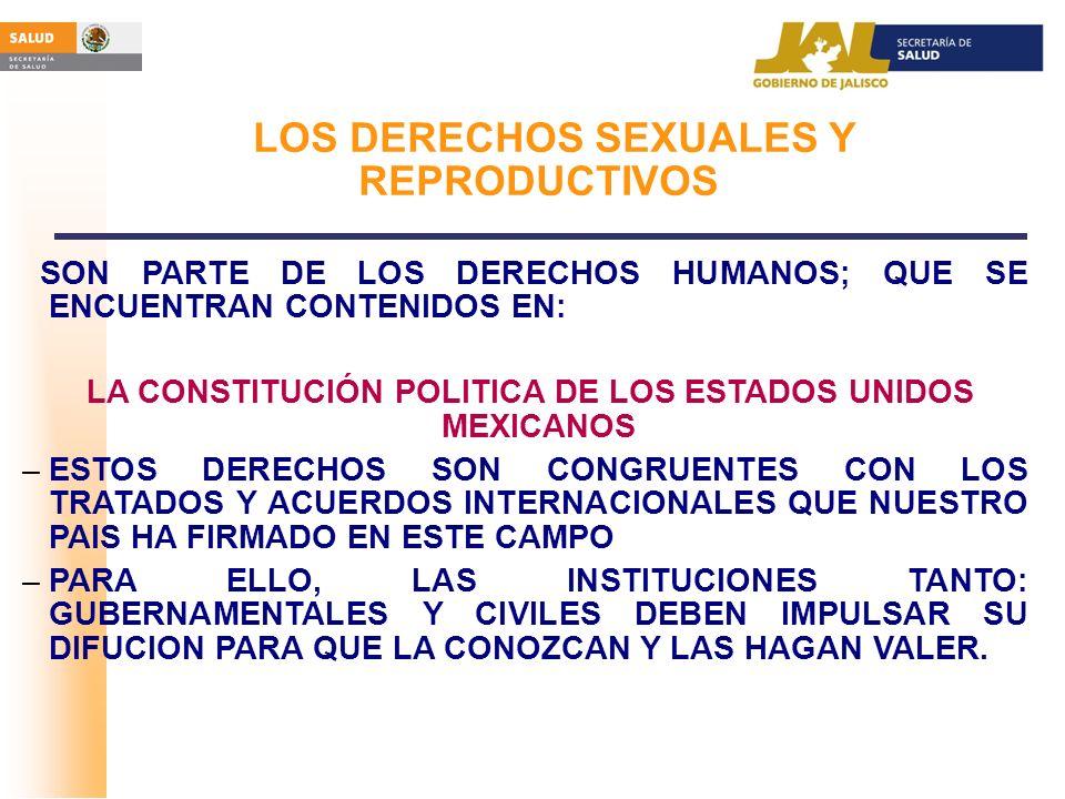 LOS DERECHOS SEXUALES Y REPRODUCTIVOS SON PARTE DE LOS DERECHOS HUMANOS; QUE SE ENCUENTRAN CONTENIDOS EN: LA CONSTITUCIÓN POLITICA DE LOS ESTADOS UNID