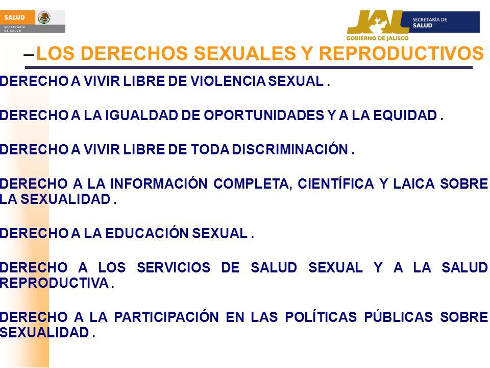 –LOS DERECHOS SEXUALES Y REPRODUCTIVOS DERECHO A VIVIR LIBRE DE VIOLENCIA SEXUAL. DERECHO A LA IGUALDAD DE OPORTUNIDADES Y A LA EQUIDAD. DERECHO A VIV