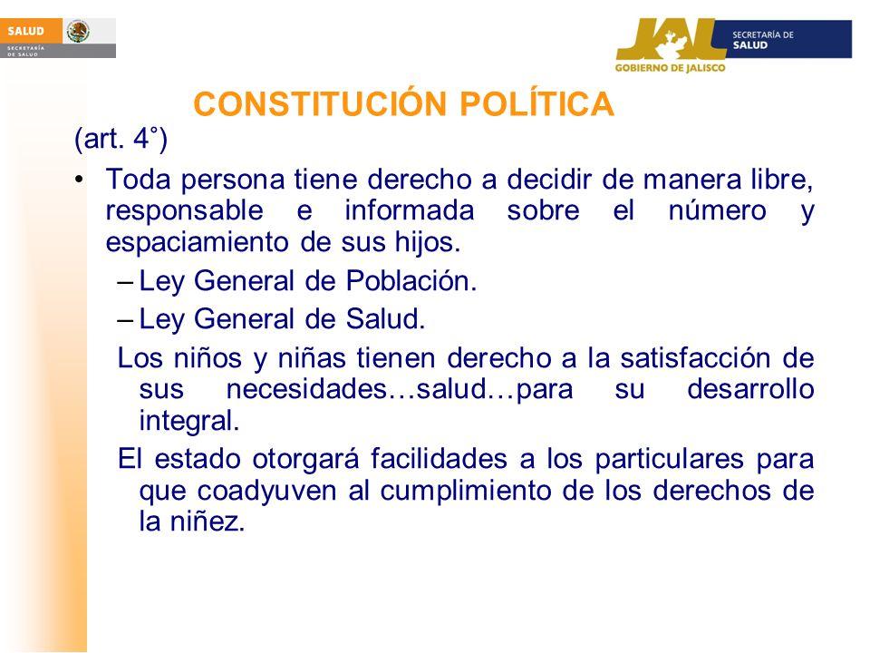 CONSTITUCIÓN POLÍTICA (art. 4°) Toda persona tiene derecho a decidir de manera libre, responsable e informada sobre el número y espaciamiento de sus h