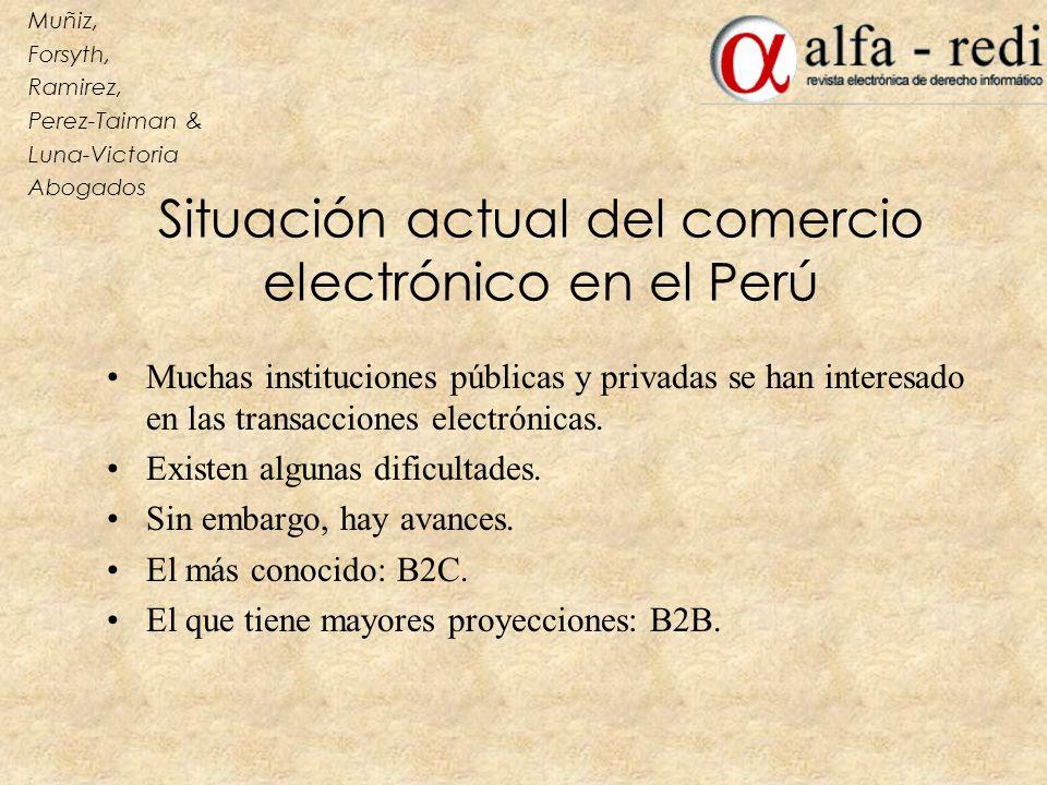 Situación actual del comercio electrónico en el Perú Muchas instituciones públicas y privadas se han interesado en las transacciones electrónicas. Exi