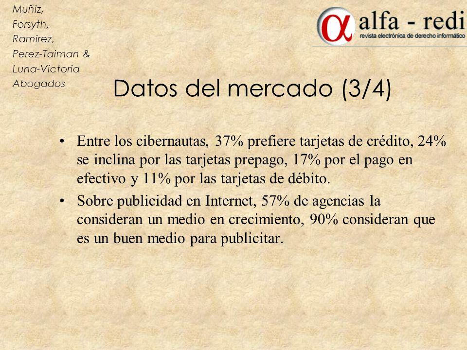 Datos del mercado (3/4) Entre los cibernautas, 37% prefiere tarjetas de crédito, 24% se inclina por las tarjetas prepago, 17% por el pago en efectivo