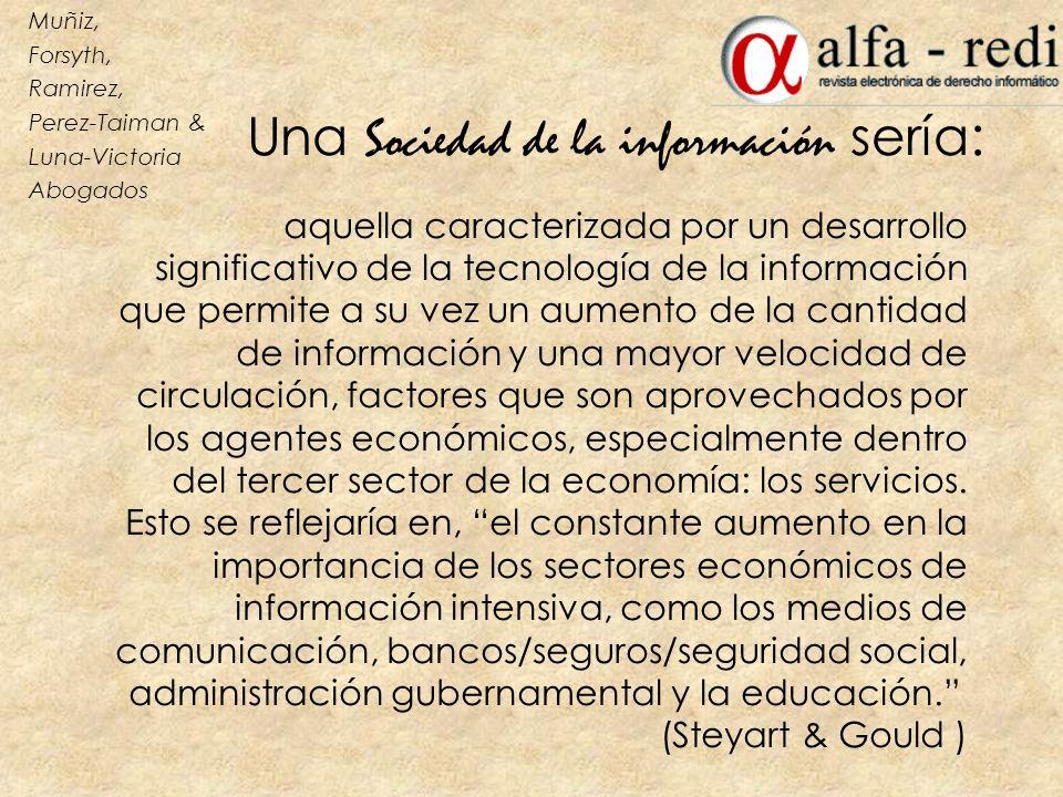 Una Sociedad de la información sería : aquella caracterizada por un desarrollo significativo de la tecnología de la información que permite a su vez u