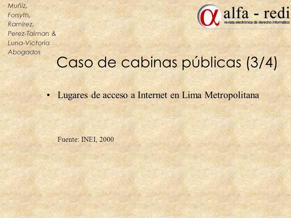 Caso de cabinas públicas (3/4) Lugares de acceso a Internet en Lima Metropolitana Fuente: INEI, 2000 Muñiz, Forsyth, Ramirez, Perez-Taiman & Luna-Vict
