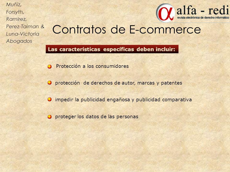 Las características específicas deben incluir: protección de derechos de autor, marcas y patentes impedir la publicidad engañosa y publicidad comparat