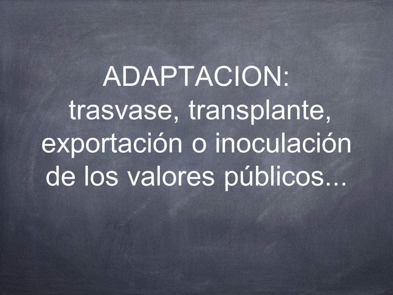 ADAPTACION: trasvase, transplante, exportación o inoculación de los valores públicos...