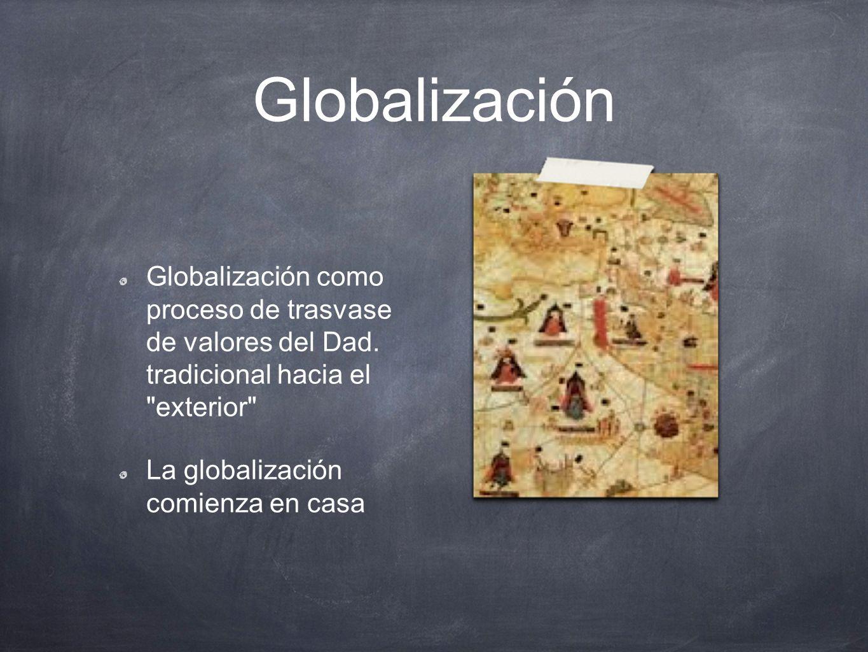 Globalización Globalización como proceso de trasvase de valores del Dad. tradicional hacia el