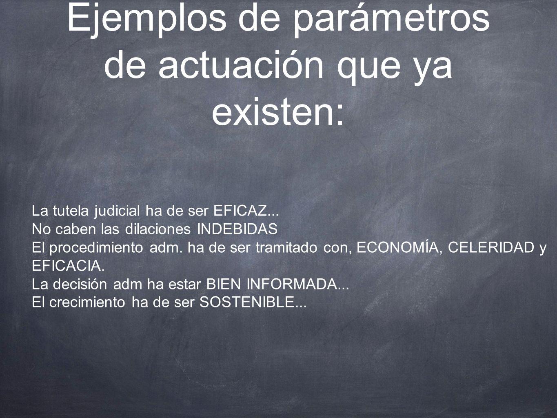 Ejemplos de parámetros de actuación que ya existen: La tutela judicial ha de ser EFICAZ... No caben las dilaciones INDEBIDAS El procedimiento adm. ha