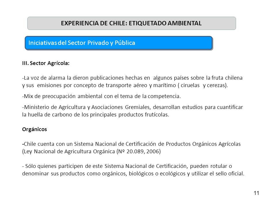 11 III. Sector Agrícola: -La voz de alarma la dieron publicaciones hechas en algunos países sobre la fruta chilena y sus emisiones por concepto de tra