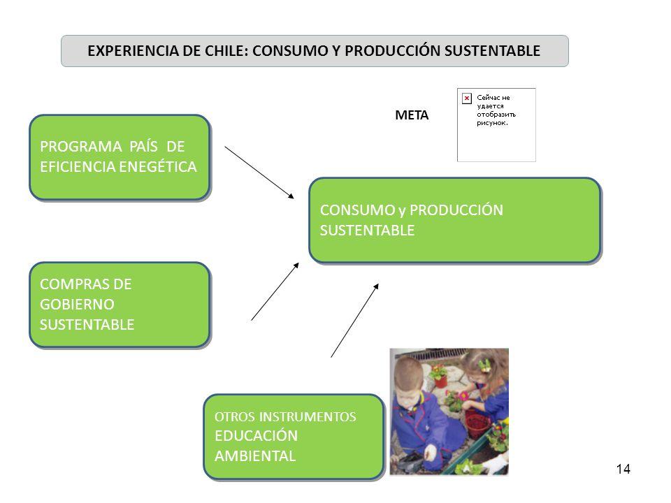 14 EXPERIENCIA DE CHILE: CONSUMO Y PRODUCCIÓN SUSTENTABLE CONSUMO y PRODUCCIÓN SUSTENTABLE META PROGRAMA PAÍS DE EFICIENCIA ENEGÉTICA COMPRAS DE GOBIE
