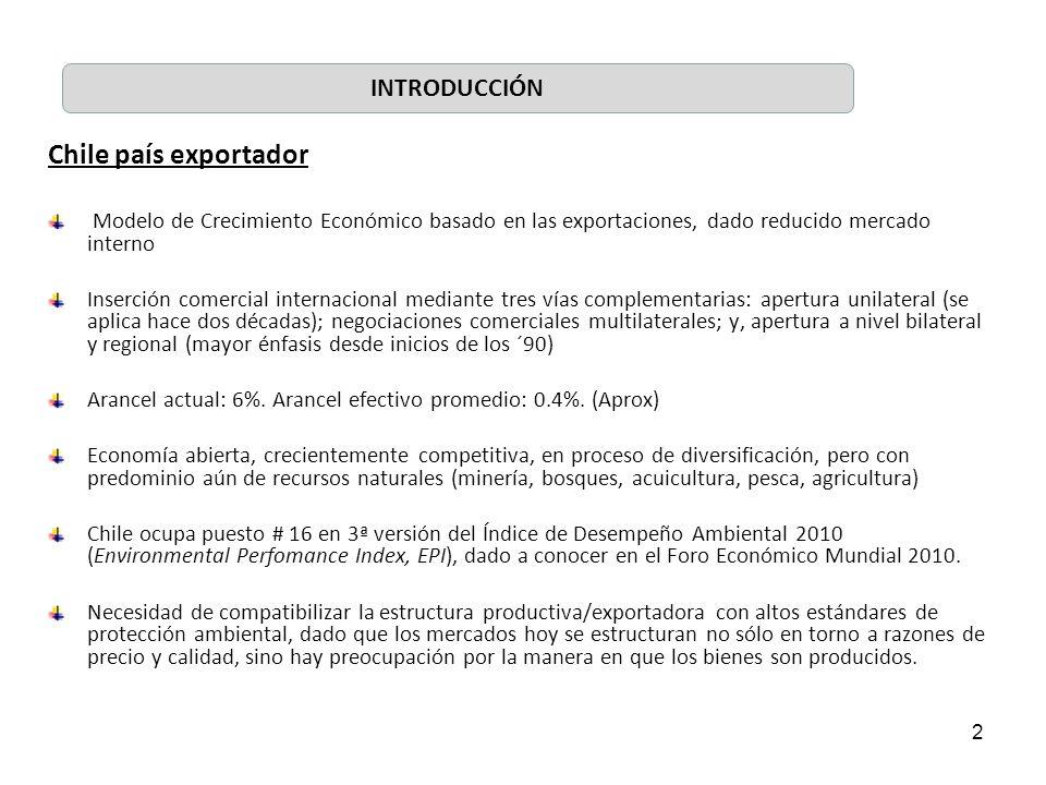 2 Chile país exportador Modelo de Crecimiento Económico basado en las exportaciones, dado reducido mercado interno Inserción comercial internacional m