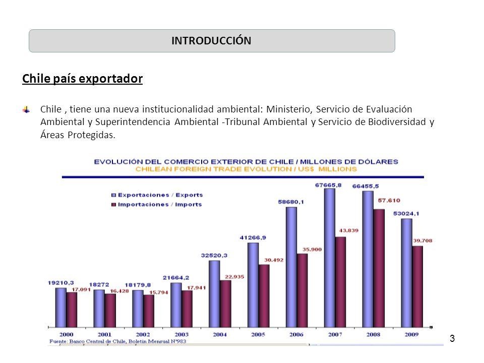 3 Chile país exportador Chile, tiene una nueva institucionalidad ambiental: Ministerio, Servicio de Evaluación Ambiental y Superintendencia Ambiental