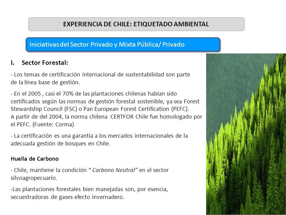 7 I.Sector Forestal: - Los temas de certificación internacional de sustentabilidad son parte de la línea base de gestión. - En el 2005, casi el 70% de