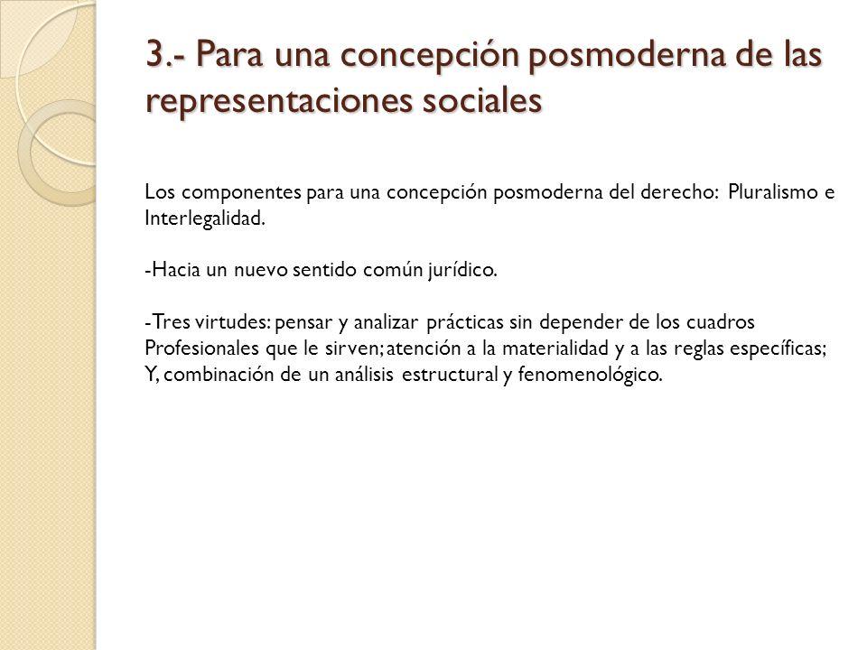 3.- Para una concepción posmoderna de las representaciones sociales Los componentes para una concepción posmoderna del derecho: Pluralismo e Interlega