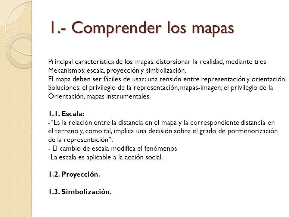 1.- Comprender los mapas Principal característica de los mapas: distorsionar la realidad, mediante tres Mecanismos: escala, proyección y simbolización
