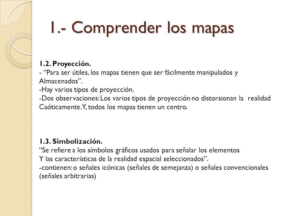 1.- Comprender los mapas 1.2. Proyección. - Para ser útiles, los mapas tienen que ser fácilmente manipulados y Almacenados. -Hay varios tipos de proye