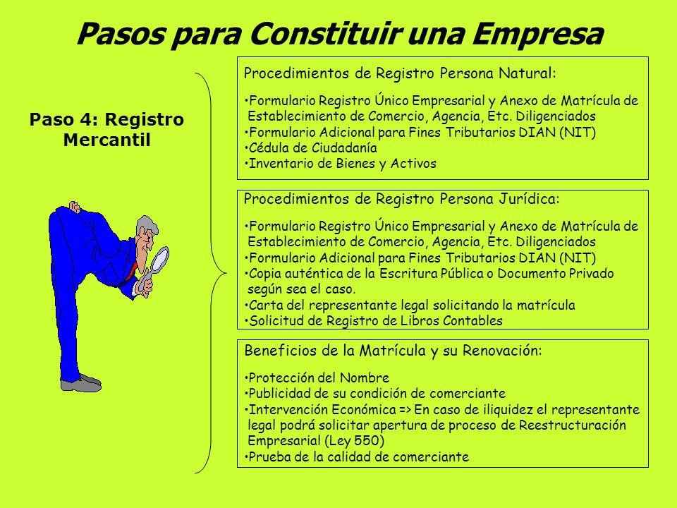 Pasos para Constituir una Empresa Paso 3: Constitución De la Sociedad Sociedades Comerciales => Escritura Pública en Notaría Personas Naturales => No
