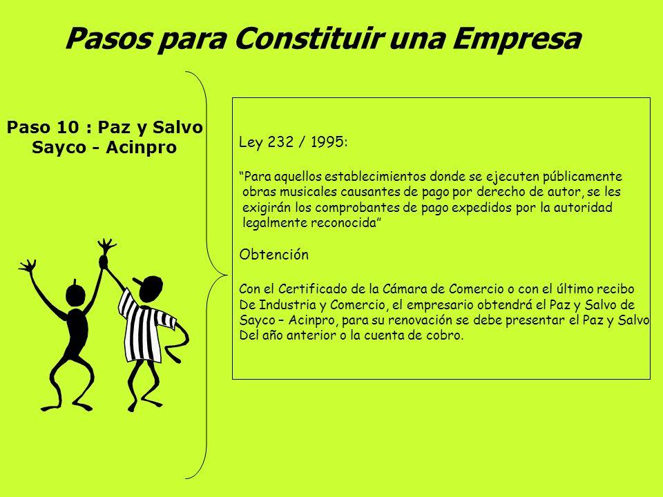 Pasos para Constituir una Empresa Paso 9 : Concepto Sanitario Secretaría de Salud Municipal Visita de inspección al establecimiento sobre el cumplimie