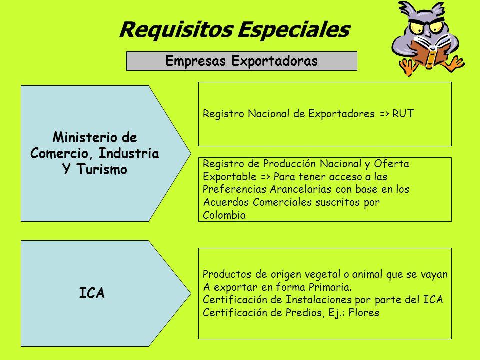 Requisitos Especiales Empresas Exportadoras Escritura de Constitución Definir expresamente las actividades de Exportación. Registro Mercantil Indicar