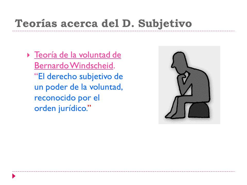 Teorías acerca del D. Subjetivo Teoría de la voluntad de Bernardo Windscheid.El derecho subjetivo de un poder de la voluntad, reconocido por el orden