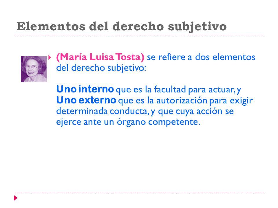 Elementos del derecho subjetivo (María Luisa Tosta) se refiere a dos elementos del derecho subjetivo: Uno interno que es la facultad para actuar, y Un