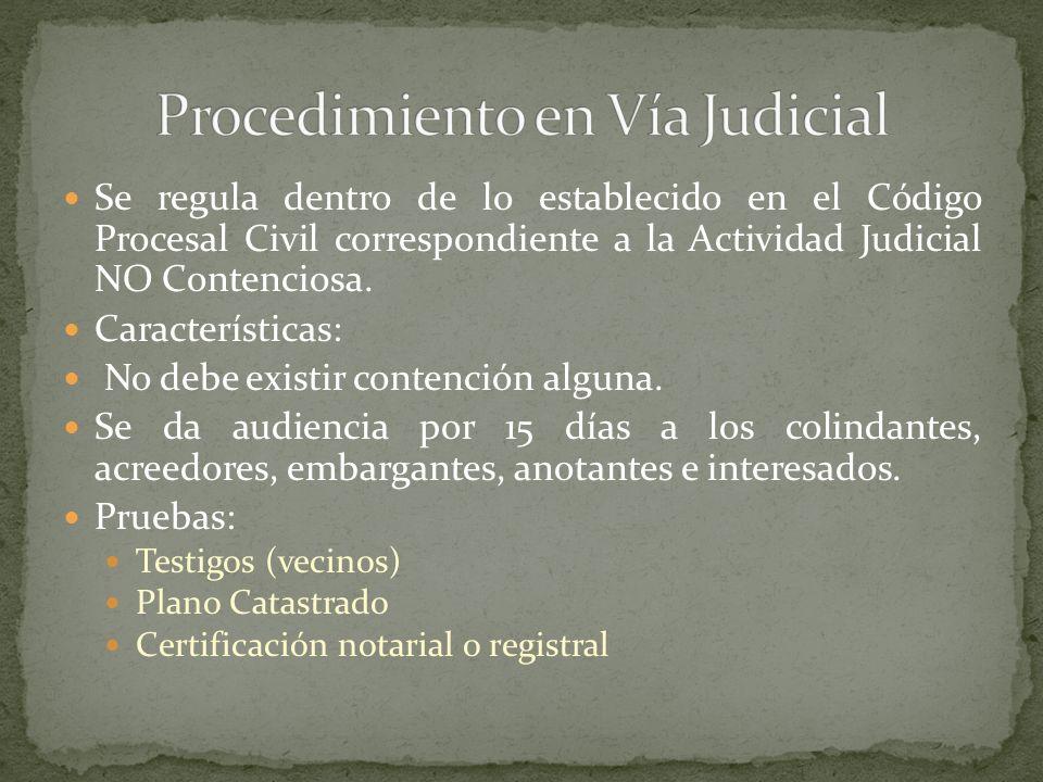 Se regula dentro de lo establecido en el Código Procesal Civil correspondiente a la Actividad Judicial NO Contenciosa. Características: No debe existi
