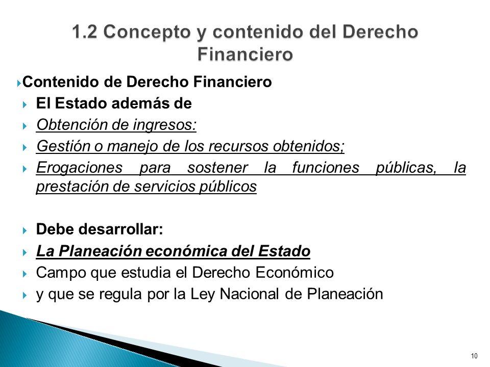 Contenido de Derecho Financiero El Estado además de Obtención de ingresos: Gestión o manejo de los recursos obtenidos; Erogaciones para sostener la fu