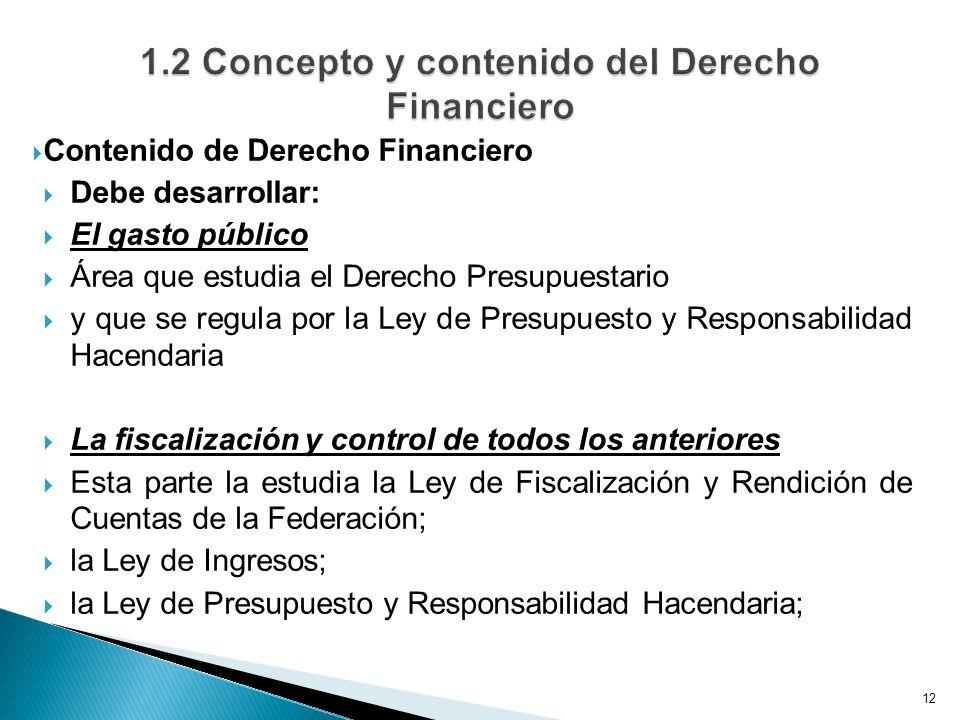 Contenido de Derecho Financiero Debe desarrollar: El gasto público Área que estudia el Derecho Presupuestario y que se regula por la Ley de Presupuesto y Responsabilidad Hacendaria La fiscalización y control de todos los anteriores Esta parte la estudia la Ley de Fiscalización y Rendición de Cuentas de la Federación; la Ley de Ingresos; la Ley de Presupuesto y Responsabilidad Hacendaria; 12
