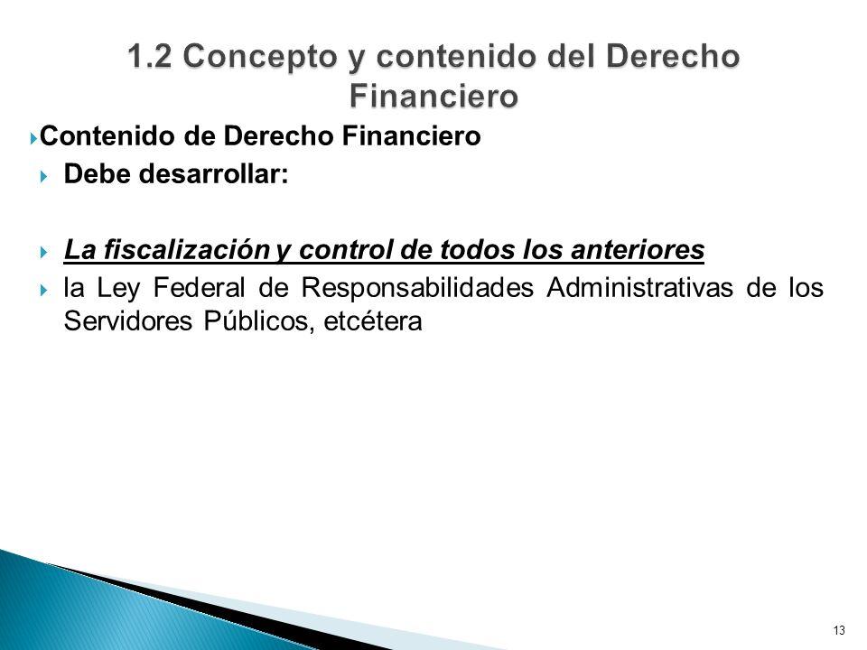 Contenido de Derecho Financiero Debe desarrollar: La fiscalización y control de todos los anteriores la Ley Federal de Responsabilidades Administrativas de los Servidores Públicos, etcétera 13