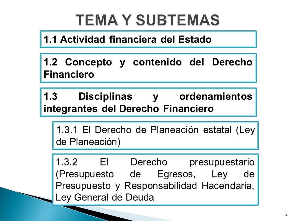 2 1.1 Actividad financiera del Estado 1.3.1 El Derecho de Planeación estatal (Ley de Planeación) 1.3.2 El Derecho presupuestario (Presupuesto de Egresos, Ley de Presupuesto y Responsabilidad Hacendaria, Ley General de Deuda 1.2 Concepto y contenido del Derecho Financiero 1.3 Disciplinas y ordenamientos integrantes del Derecho Financiero