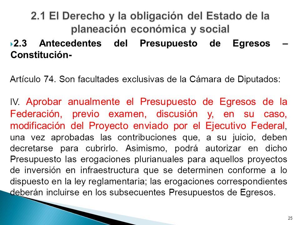 25 2.3 Antecedentes del Presupuesto de Egresos – Constitución- Artículo 74. Son facultades exclusivas de la Cámara de Diputados: IV. Aprobar anualment