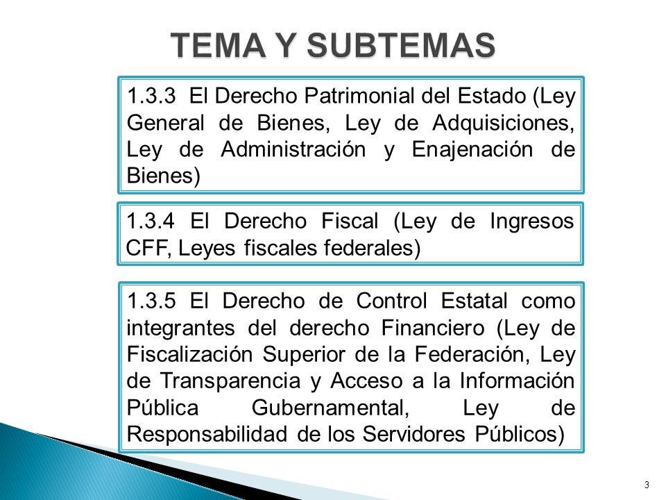 3 1.3.3 El Derecho Patrimonial del Estado (Ley General de Bienes, Ley de Adquisiciones, Ley de Administración y Enajenación de Bienes) 1.3.4 El Derecho Fiscal (Ley de Ingresos CFF, Leyes fiscales federales) 1.3.5 El Derecho de Control Estatal como integrantes del derecho Financiero (Ley de Fiscalización Superior de la Federación, Ley de Transparencia y Acceso a la Información Pública Gubernamental, Ley de Responsabilidad de los Servidores Públicos)