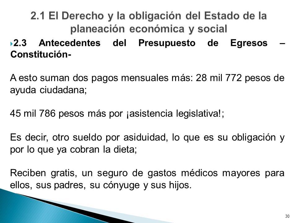 30 2.3 Antecedentes del Presupuesto de Egresos – Constitución- A esto suman dos pagos mensuales más: 28 mil 772 pesos de ayuda ciudadana; 45 mil 786 p