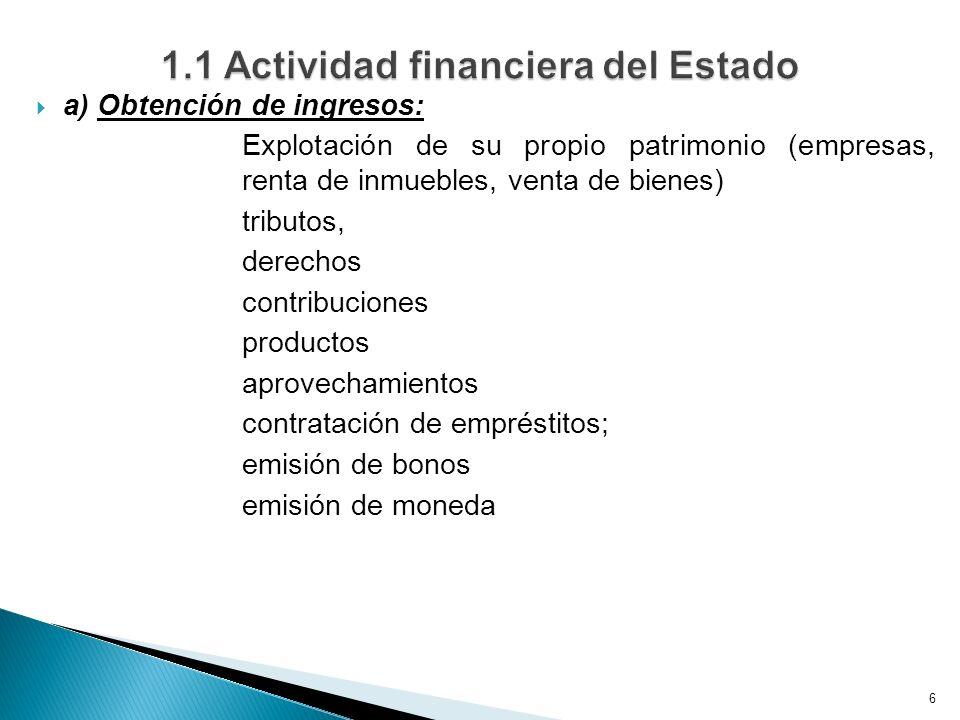 a) Obtención de ingresos: Explotación de su propio patrimonio (empresas, renta de inmuebles, venta de bienes) tributos, derechos contribuciones produc