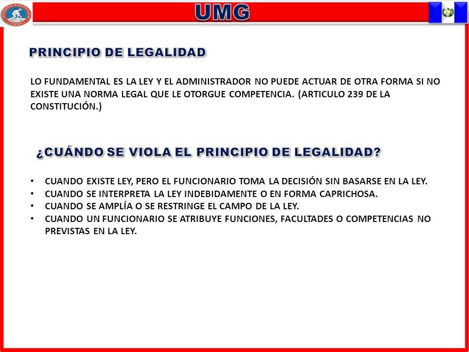LO FUNDAMENTAL ES LA LEY Y EL ADMINISTRADOR NO PUEDE ACTUAR DE OTRA FORMA SI NO EXISTE UNA NORMA LEGAL QUE LE OTORGUE COMPETENCIA. (ARTICULO 239 DE LA