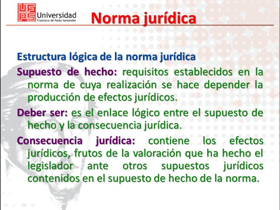 Norma jurídica Estructura lógica de la norma jurídica Supuesto de hecho: requisitos establecidos en la norma de cuya realización se hace depender la p