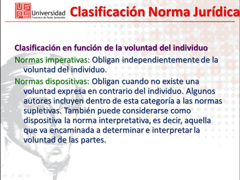 Clasificación Norma Jurídica Clasificación en función de la voluntad del individuo Normas imperativas: Obligan independientemente de la voluntad del i