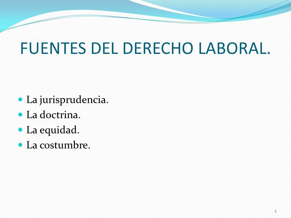 FUENTES DEL DERECHO LABORAL. La jurisprudencia. La doctrina. La equidad. La costumbre. 1