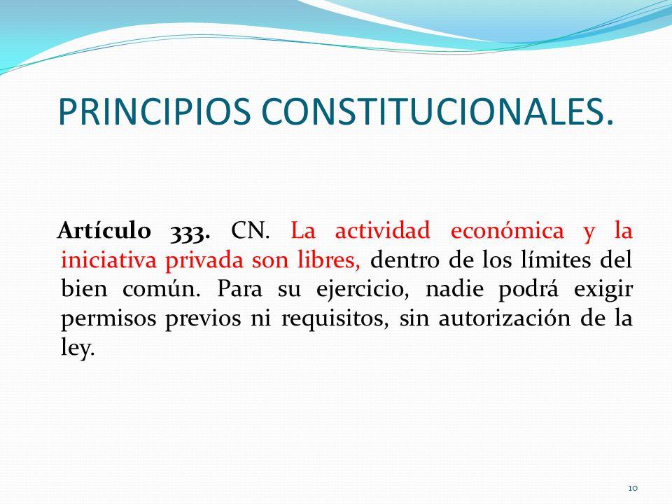 PRINCIPIOS CONSTITUCIONALES. Artículo 333. CN. La actividad económica y la iniciativa privada son libres, dentro de los límites del bien común. Para s